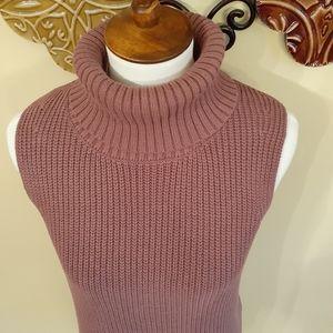 Dusty Rose Sleeveless Turtleneck Sweater NWT